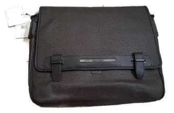 Túi đeo vai da nâu cao cấp Calvin Klein messenger leather laptop bag (Mỹ)