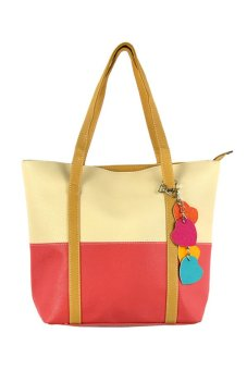 Leisure Handbag Tote Bag (Beige And Watermelon Red)