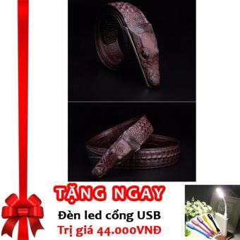Thắt lưng Vân Cá Sấu Da Thật Sang Trọng Mạnh Mẽ C678 (Nâu) + Tặng đèn LED cổng USB