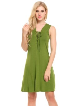 Cyber Women Lace Up V-Neck Sleeveless Solid Casual A-Line Dress Plus Size ( Green ) - intl