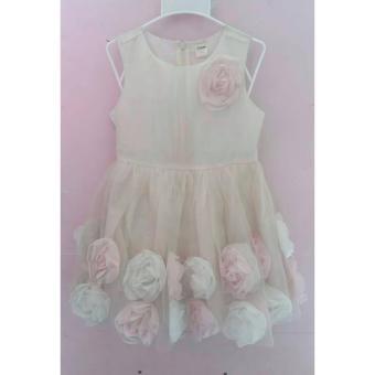 Đầm voan trắng hoa hồng 3d