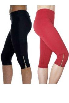 Bộ 2 quần lửng nữ dài ¾ chun co dãn SoYoung 2WM CROPPED PANT 003 ZIP B R (Đen Đỏ)