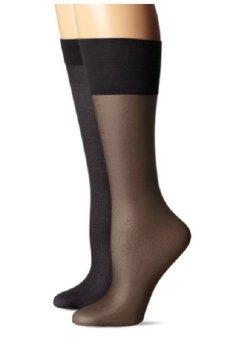 Bộ 2 đôi vớ da Đen nữ Jones New York Women's Mesh and Solid 20 Denier Trouser Socks (Mỹ)