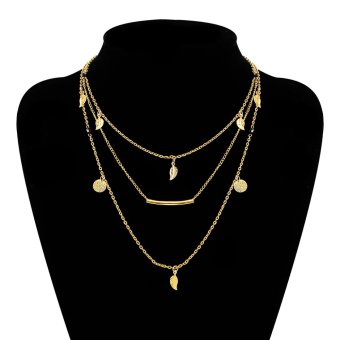 Necklaces European US Jewelry Trade fashion styleMulti layer black bead leaves short necklace - intl