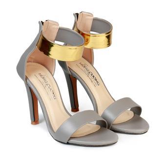 Giày Sandal Nữ Gót Nhọn Khóa Hậu Quai Ngang HC1357 (Xám).