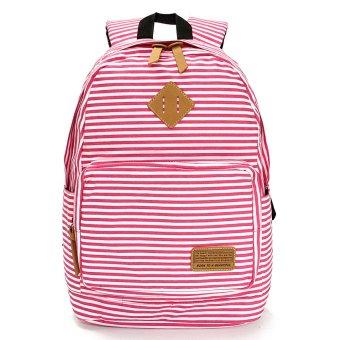 Fashion Travel Girl Women Canvas Backpack Satchel Shoulder Bag School Rucksack Rose red - intl