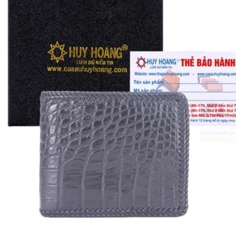 HL2254 - Bóp nam Huy Hoàng da cá sấu đan viền gai bụng màu đen