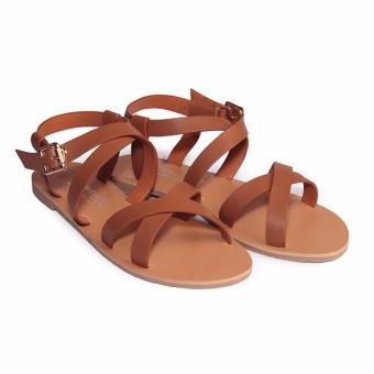 Giày Sandal bệt nữ quai chéo HC1359 (Nâu)