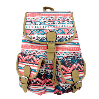 Ethnic Style Casual Canvas Drawstring Daypack Backpack School Travel Bag for Girls Women
