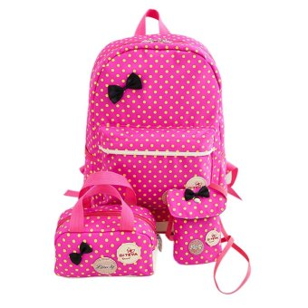 3pcs New Girls Youth School Backpack Nylon Travel Dot Printed Crossbody Bag - intl