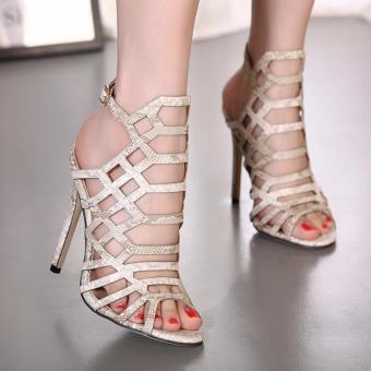 Giày sandal cao gót xương cá nhuyễn S055 (Kem da rắn)