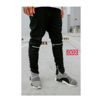 Quần jogger kaki nam khóa gối ống [màu đen]