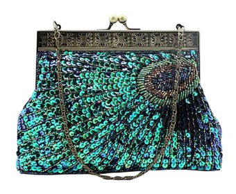niceEshop Women's Retro Exquisite Peacock Pattern Beaded Evening Party Wedding Handbag Blue