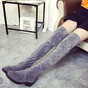 Brand New Women's Over Knee Slim High Boot Lace Up Flats Long Thigh Boots Shoes - intl