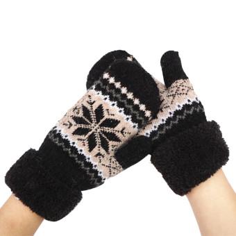 Women's Warm Winter Snow Gloves Mittens Black