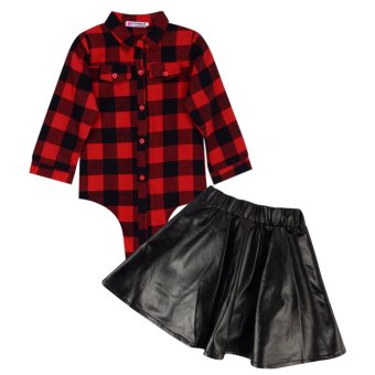 Toddler Kids Baby Girls Outfits Clothes T-shirt Top+Leather Skirt Dress 2PCS Set - intl