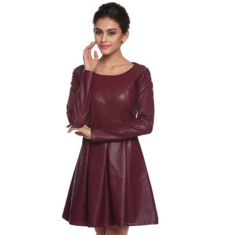 Cyber Finejo Cool Women Synthetic Leather Dress Slim Long Sleeve Pleated Dress (Wine Red) - Intl