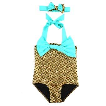 Mermaid Princess Bikini Swim Bathing (Golden) - intl