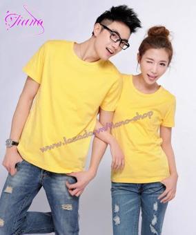 Áo Thun Cặp Đôi Form Rộng Phong Cách Hàn Quốc ( Màu Vàng )