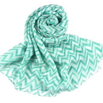 Women Ladies Soft Voile Waves Printing Sheer Infinity Loop Scarf (Green)