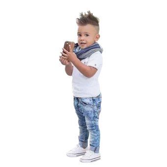 Boys Short Sleeve Shirt Denim Jeans and Scarf - intl
