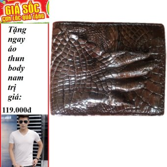 Ví nam da cá sấu thật nguyên tay cao cấp + Tặng 1 áo thun body nam