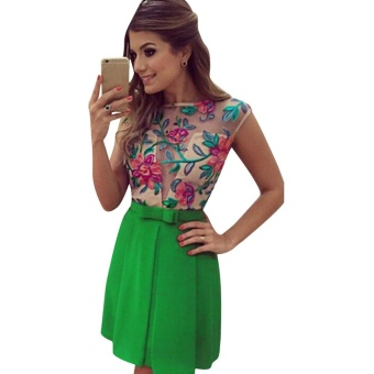 Women Summer Lace Floral Short Party Mini Dress - intl