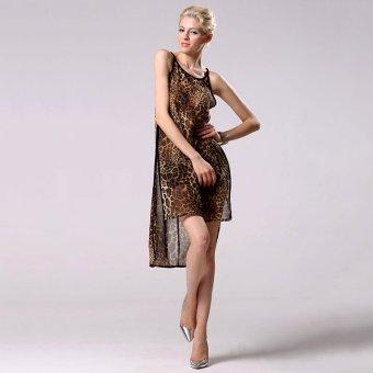 Stylish Party Cocktail Women Sleeveless O-Neck Leopard Dress - Intl