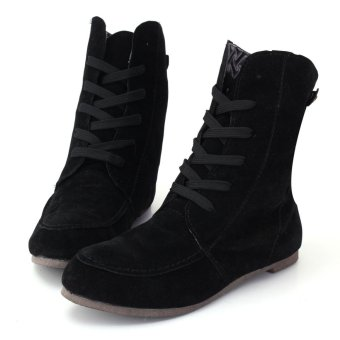 2016 NEW Womens Ankle Boots Lace Up High Top Flat Wedge Shoes Winter Sneakers - intl