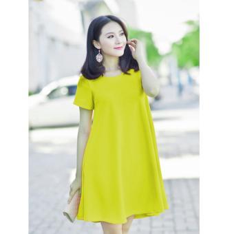 Đầm Bầu Tay Ngắn Màu Vàng Chanh