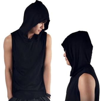 Men Sleeveless T-shirt Pure Color Hooded Vest Black - intl