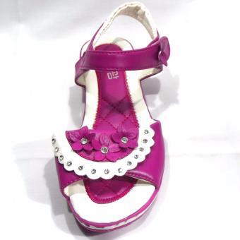 Sandal học sinh kiểu Hàn Quốc hồng đậm đính đá đẹp