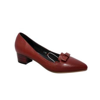 Giày nữ cao gót da bò (Đỏ đô).