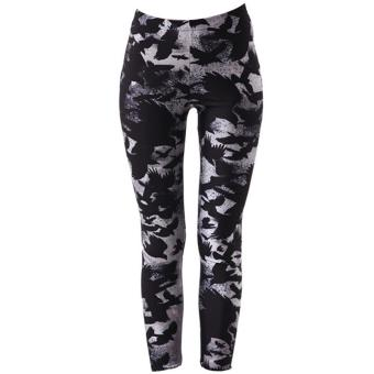 Women Lady Printed Leggings Skinny Pencil Pants Fashion Home Outdoor Sports Running Tights Casual Comfort Trousers Size L - intl