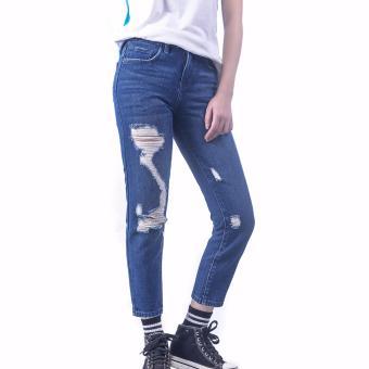 Quần Jeans Boyfriend Rách Chữ S