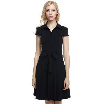 Cyber ACEVOG Women Cap Sleeve Belt Vintage Style Classical Casual Party Swing Dress ( Black ) - Intl