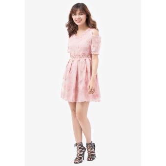 Đầm Xòe Ren Amun Khoét Vai Dx130-Hong (Hồng)