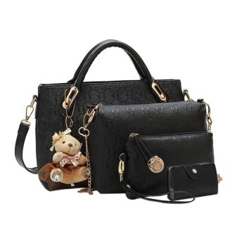 niceE shop Women Tote Shoulder Bag Pu Leather Handbag Set (Black)