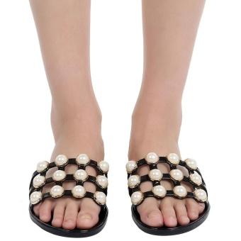 Topsellers365Faux Pearl Embellished Hollow Out Slide Sandals ( Black ) - intl