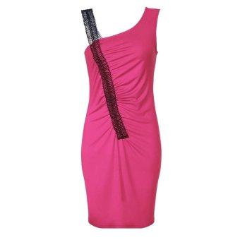Sunweb Meaneor Women Sexy Stylish Lace Strap Irregular Neck Sleeveless Party Cocktail Dress ( Pink ) - intl