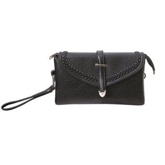 Women PU Leather Mini Clutch Bag Flip Messenger Bag Shoulder (Black) - intl