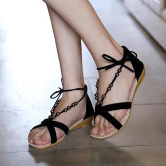 Giày cột dây xỏ hạt thời trang (Đen)