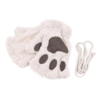 Allwin Lovely Women Cat Claw Paw Mitten Plush Glove Costume Gift Winter Half Finger Beige - intl