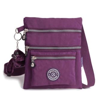 Waterproof Nylon Handbag Shoulder Diagonal Bag Messenger Purple (Intl)