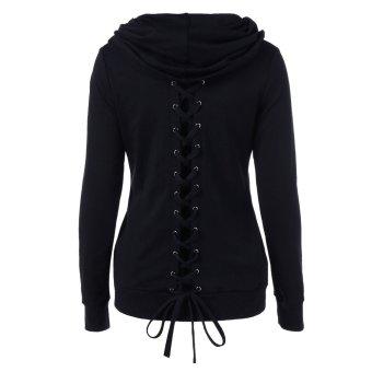Women Casual Lace-Up Sweatshirt (Black) - intl