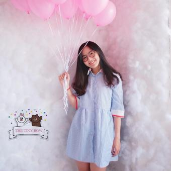 Đầm so mi nữ ngắn sọc viền tay lửng cổ đứng dễ thương trẻ trung dạo phố Hàn Quốc Urban Horizon NB0005 (Xanh)