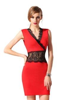 Linemart Summer Women Mini Lace Dress (Red) - intl