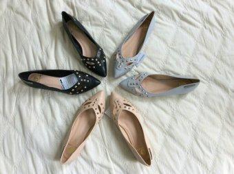 Giày búp bê đính nút BBTN-02 (Kem)