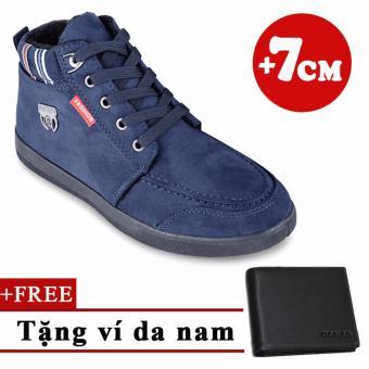 Giày Bốt Cổ Ngắn Tăng Chiều Cao 7cm +Tặng 1 ví da nam Bluesky Tinto 1701xh