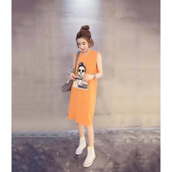 Đầm suông nữ hình cô gái (Cam) Kmfashion